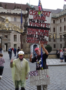 Protestor at Prague Castle